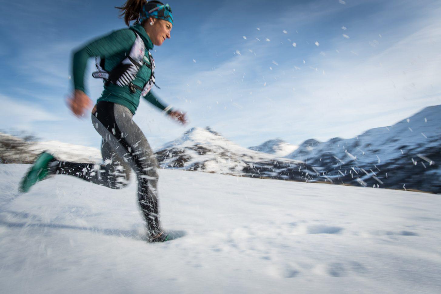Trail dans la neige à valloire
