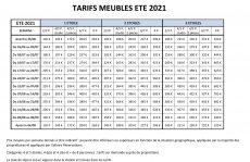 TARIFS MEUBLES ETE 2021